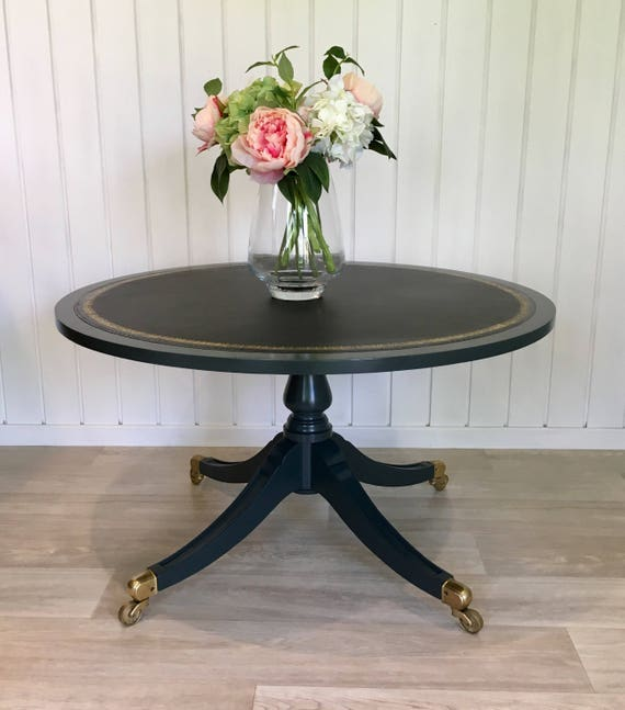 Coffee Table. Dark Grey Round Vintage