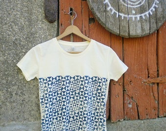 Eco Safe friendly cotton Handprinted pattern triangle tshirt woman