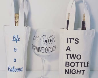 Customized Wine Totes & Wine Glasses