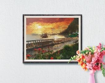 Seascape Printable Art, Seaside Wall Art Print, Home Decor, Printable Art, Wall Decor, Modern Art Print, Impressionist Digital Painting