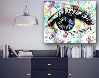 Eye Art Canvas, Optometrist Office, Eye Doctor Office, Evil Eye, Eye Print, Eyes, Eye Artwork, Eye Painting, Doctor Office, Eye Pop Art, Eye