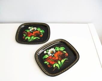 Plates set. Metal plates set. Flowers plates set. Painted plates set.