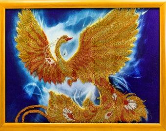 Bead-embroidered picture Firebird golden decor gift beadwork embroidery beads art elegant interior design decoration
