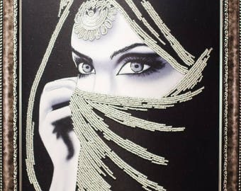 Beaded picture Eastern Girl Habiba beautiful eyes decor gift beadwork hand-embroidered embroidery bead art interior design decoration