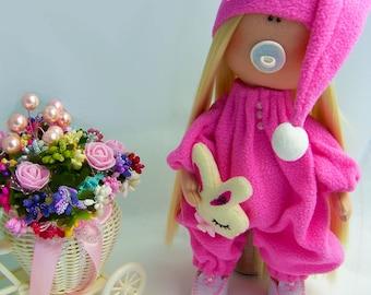 Spring gift Fabric doll  Nursery doll Tilda doll Pink doll Cloth doll Baby doll Rag doll Textile doll by JenoviyaDolls