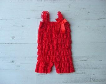 Red Lace Petti Romper,Baby Romper,Lace Romper,Petti Romper,Ruffled rompers,Girls Romper,Summer Outfit,
