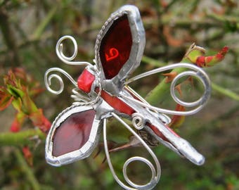 Brooch Butterfly, Handmade, Tiffany tecnique, Stained glass, Red Glass, Silverplated Wire