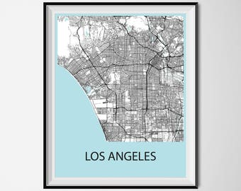 Los Angeles Map Poster Print - Black and White