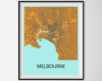 Melbourne Map Poster Print - Orange and Blue