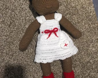 Knitted nurse doll