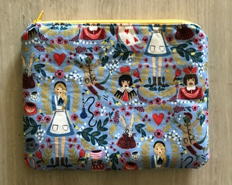 Handmade small zipper pouch for notions and accessories 21 x 16 x 0.8 cm *Alice in Wonderland Blue 2*