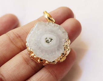 Gold Electroplated White Solar Quartz Multi Color Druzy Pendant with Loop,Elegant Druzy Handmade Pendant*GS96