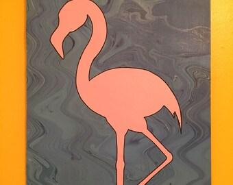 Pink & Blue Flamingo Painting // Flamingo Wall Hanging