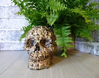 painted skull, Skull gift, skull sculpture, alternative skull, skull decoration, pretty skull, cream and black, faux skull, skulls on skull