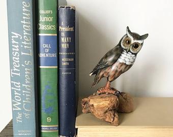Vintage Wooden Owl Figure/Figurine -Hand Painted -Mid Century Modern