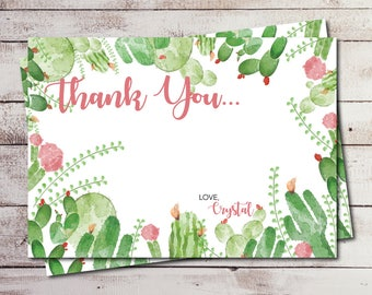 Cactus Thank You Card, Desert Thank You Card, Shower Thank You Card, Baby Shower, Bridal Shower Cactus Theme Desert Theme Digital or Printed
