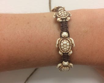 Brown and White Turtle Bracelet