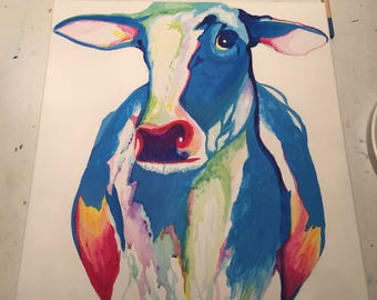 Multi-color cow drip painting 18x24
