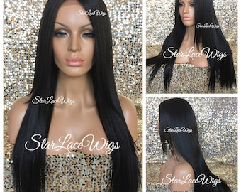 Long Straight Dark Brown Lace Front Wig - Layers - Middle Part - Heat Resistant Safe