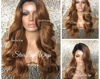 Long Loose Curls Auburn Strawberry Blonde Wig - Dark Roots - Bangs - Middle Part - Loose Waves Heat Resistant Safe