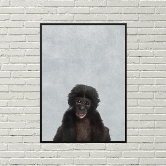 monkey picture baby monkey print for nursery monkey art nursery decor monkey poster nursery art bonobo print cute monkey nursery poster