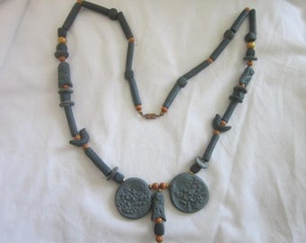 Vintage Retro Molded Clay & Beaded Egyptian Revival Necklace