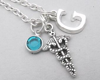 Caduceus monogram necklace   caduceus initial necklace   caduceus pendant   personalised caduceus necklace   caduceus jewelry   birthstone