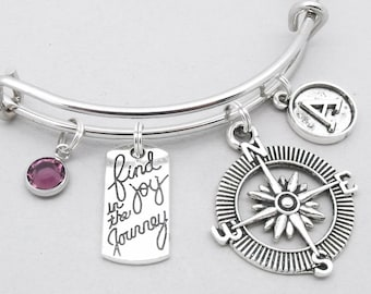 Find Joy In The Journey vintage style initial bracelet | graduation bracelet | retirement bracelet | graduation jewelry | retirement jewelry