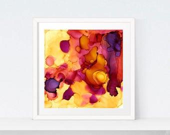 Purple Yellow Orange Abstract Painting, Statement Art, Violet Accent Art, Modern Art, Orange Yellow Digital Art Download, Abstract Art