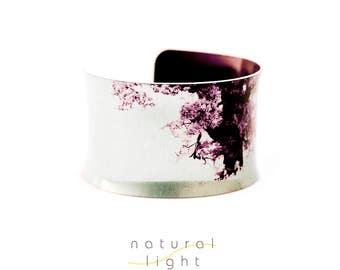 Cuff Bracelet - Ancient Oak Tree - Hippie Boho Jewelry - Boho Fashion - Gift for Her - Botanical Print - Aluminum Jewelry - Wearable Art