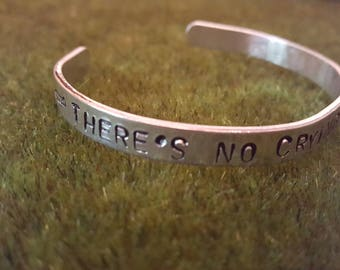 There's no crying in baseball  handstamped thin cuff bracelet