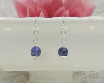 Wire Wrapped SODALITE earrings,Gemstone earrings,Wire Wrapped earrings,Leverback,Clip on,Gemstone Healing