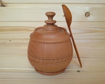 Wooden sugar bowl Wood jar with lid Kitchen container for bulk products Hand carved rustic pot cask barrel Housewarming gift for wife