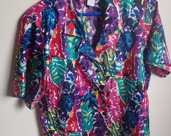1980's Colorful button up blouse