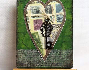 ACEO, mixed media original, ATC, artist trading card,  2.5x3.5, love, romance, upcycled, Key to My Heart
