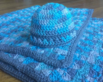 Handmade Crochet Baby Boy Blanket and Hat Set