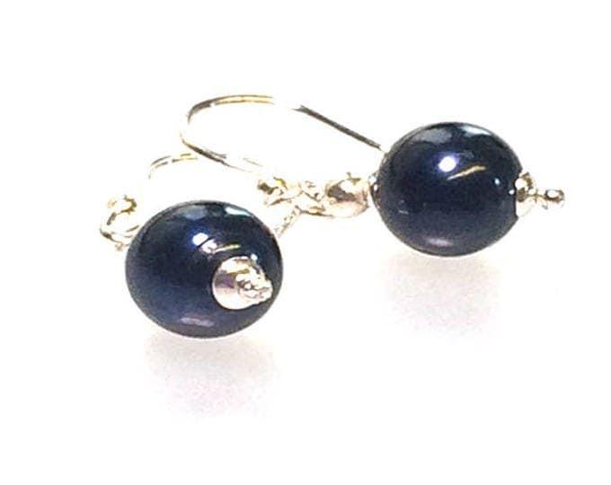AAA Grade Blue/Black Freshwater Pearl Earrings