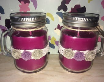 Mulberry Highly Scented Soy Wax Mini Mason Jar Candles