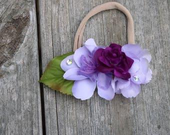Purple and lavander flowers on nylon headband
