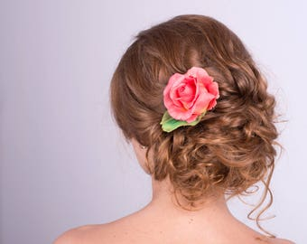 Coral rose hair clip Orange flower hair accessuaries Rose hair piece Coral rose barrette  Prom headpiece Gift for her