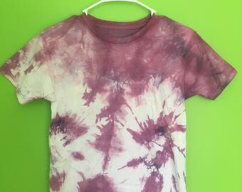 Kids Large Tie Dye T-Shirt--Handmade--Purple Tie Dye--Cotton