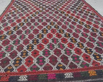 Large Rugs,OUSHAK  Rug,Vintage Turkish Rug,Vintage Oushak Rug Kilim,Home living,Area Rug,Home Decor,Area Rugs,Colored,5x10Ft,Floor Rugs,Rugs