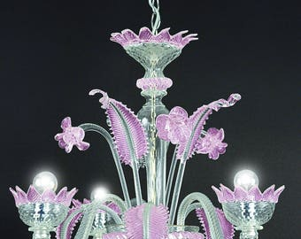 Muranese chendelier 3 lights pink and crystal