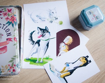 Postcards set (4) - dogs