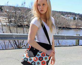 Handbag fashion retro bag shoulder bag, charcoal grey geometric pattern grey black