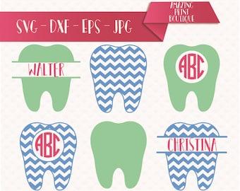 Tooth svg, tooth monogram svg, tooth fairy clipart, teeth digital download svg, eps, dxf, Dentist SVG Dental Monogram Frame Set, Doctor svg