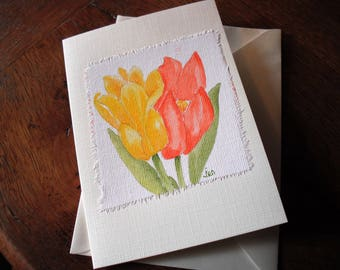 Original Water colour. Tulips. Card left blank inside.  Free p&p