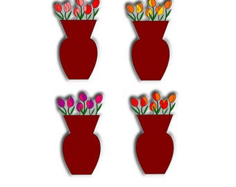 Tulips clipart/Tulips in vase clipart/Flowers in vase clipart