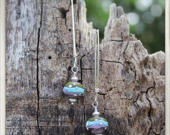 Sterling and multi colored lampwork bead earrings