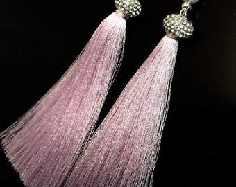 Gentle pink tassel earrings